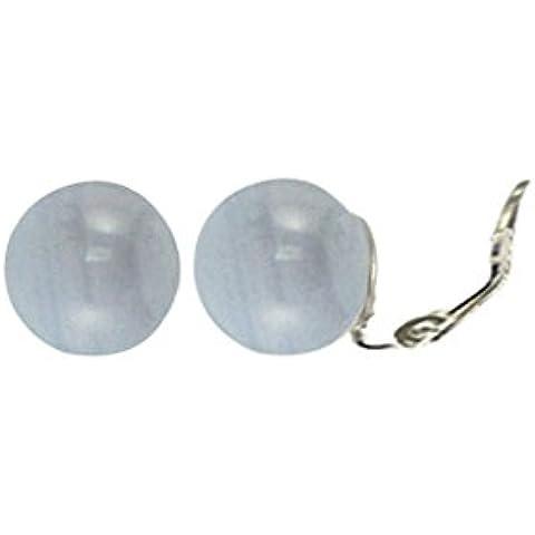 Solo blu pizzo agata pietra Stud orecchini a clip in argento Sterling con scatola regalo