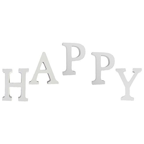buchstaben weiß,Worsendy Handwerk Holz Holz Briefe Braut Hochzeitsparty Geburtstag Spielzeug Home Dekorationen 8*6CM (happy)