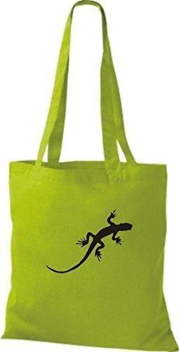 ShirtInStyle Stoffbeutel Gecko Echse Leguan Baumwolltasche Beutel, diverse Farbe lime green