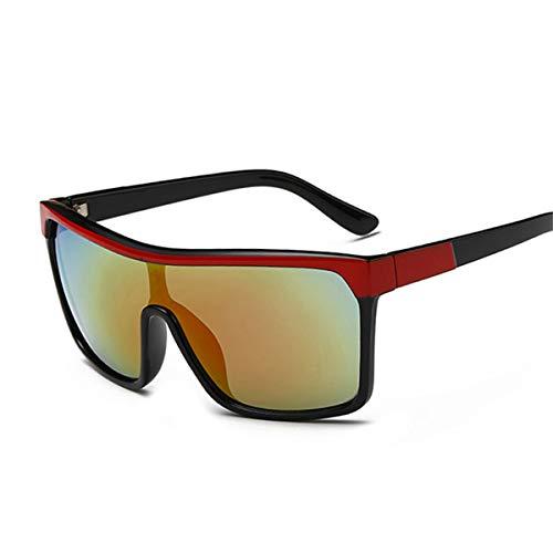 DYFDHA Sonnenbrillen Square Shield Sunglasses Men Driving Male Luxury Brand Sun Glasses For Men Designer Cool Shades MIRROR Retro CJXY802 C2 Red