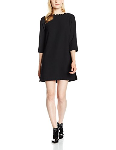 french-connection-damen-kleid-arrow-crepe-ls-pom-pom-tunic-schwarz-black-1-36-herstellergrosse-10