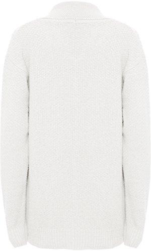 WEARALL Femmes Grande Taille Tricoté Collier Longue Manche Poche Fermeture Éclair Haut Dames Cardigan - Hauts - Femmes - Tailles 44-54 Crème