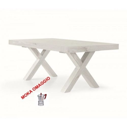 L'Aquila Design Arredamenti Tables & Chairs Table Blanc Extensible rectangulaire en Bois Chêne 655 180 x 100 x 77