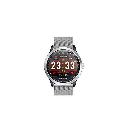 MHOLR Smart Watch EKG PPG EKG HRV-Bericht Herzfrequenz-Blutdruck-Test runden Bildschirm Sportuhr,Silver