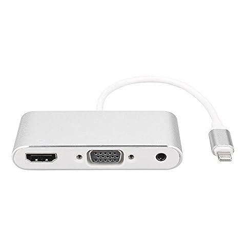 goodock Lightning auf HDMI VGA Audio Adapter 1080p HD Video Kabel mit Lightning Kabel Ladekabel & 35mm Klinke Audio-Port für iphone8iPhone 7iPhone 7Plus iPhone 6iPhone 6Plus iPad Pro iPad Air (Silber)