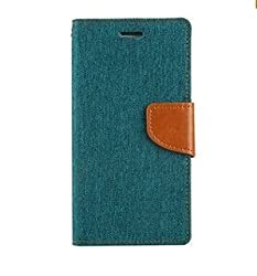 Luxury Canvas Magnetic Lock Diary Wallet Style Flip Cover Case For Acer Liquid Jade (Green)