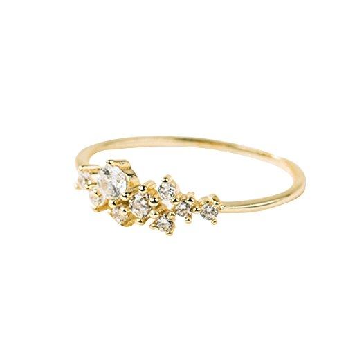 ukallaite Mode Strass Finger-Ring Damen Mädchen Party Schmuck-Geschenk, Größe 6/7/8/9/10, goldfarben, US 6