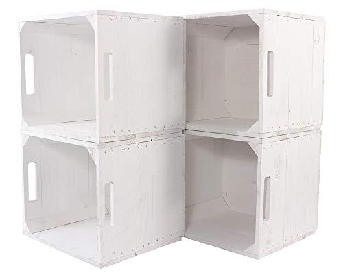 8Vintage-Möbel 24 Neue weiße Kiste für IKEA Kallax Regal Expedit 33cm x 37,5cm x 32,5cm Einsatz Aufbewahrungsbox Obstkisten Weinkiste Aufbewahrungskisten Regal Holz Kiste klassisch