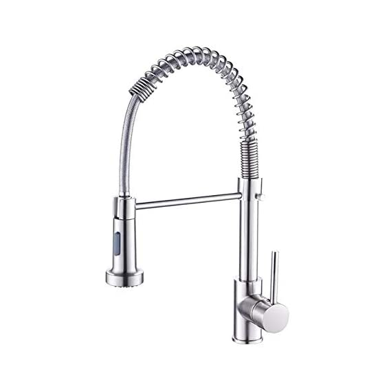 10X Spring Style Kitchen Faucet Faucet Pull Out/Brass Body Single Lever Sink Mixer/Deck Mounted (Chrome) / All Around Rotate Swivel / 2-Function Water Outlet Mixer Tap