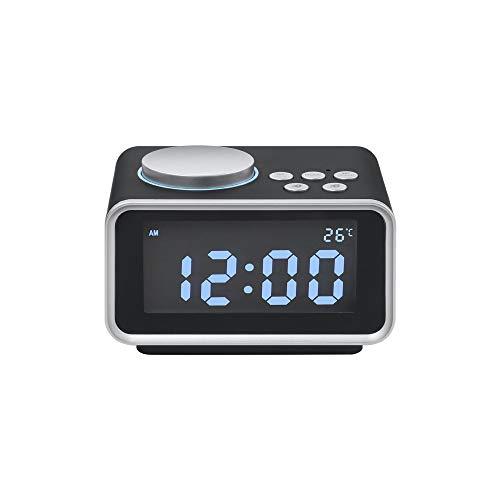 ZHEstrW Radiowecker, Dual-USB-Aufladung, 12/24 Stunden umschaltbar, Snooze-Funktion, einstellbare Hintergrundbeleuchtung, für elektronischen Hotel-Wecker im Bedside Hotelzimmer,Black