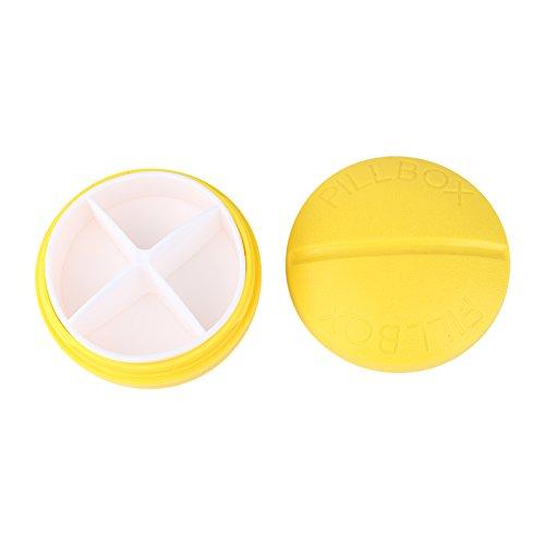 Preisvergleich Produktbild 4 Slots Pill Box Tablet Medizin Fall Lagerung Splitter Fälle Gelb