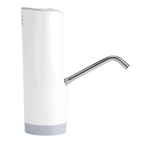 Fdit Pompe Distributeur Bouteille d'eau Potable sans Fil Automatique Bouton Top Commutateur Alimentation Adaptateur pour Maison Cuisine Bureau Utilisation(Blanc)