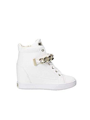 Guess Scarpe Donna Sneaker Alto Zeppa MOD. Flipper Pelle col. White