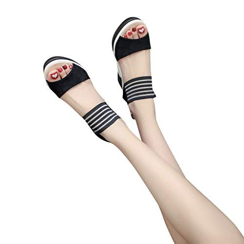 MEIbax Damen Casual Keil Schuhe Gürtelschnalle Absatzschuhe Mode Fisch Mund Sandalen Sommer Keilsandaletten,8.5cm,35-40