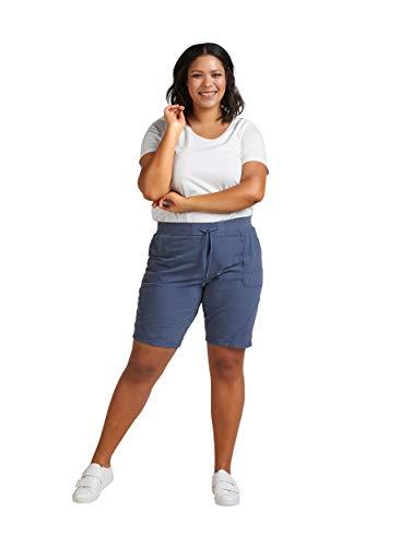 Zizzi by Adler Mode Damen Bermuda mit Bindeband - Sommerhose, Kurze Hose, Shorts, Dreiviertel-Hose Indigo Vintage M -