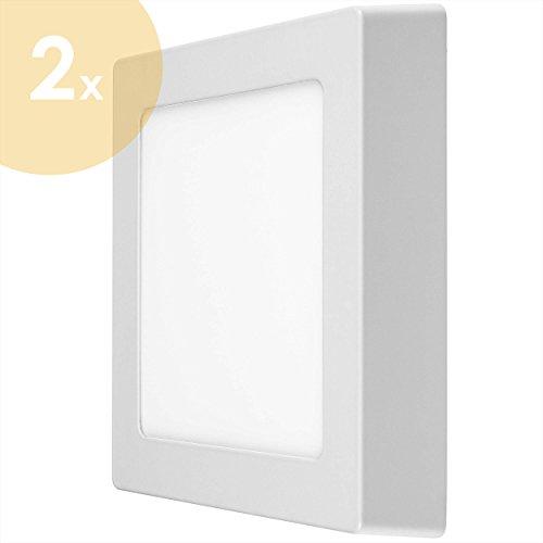2x LUMIRA 12W LED Panel Quadratisch 17x17cm Aufputz-Strahler Decken-Lampe Decken-Leuchte 12 Watt Entspricht 100W Rahmenfarbe Weiß inkl. Befestigungsmaterial und Trafo 900 Lumen 6500 Kelvin Kaltweiß (Lampe Strahler Halogen-schmale)