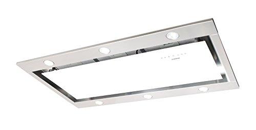 Luxus Deckenhaube Nodor 100Cm / 1000M³ / H Saugstarker Und Leiser Silentech Motor / Deckenlüfter Weissglas-Edelstahl Design / Dunstabzugshaube Mit Led Beleuchtung / Touch Control