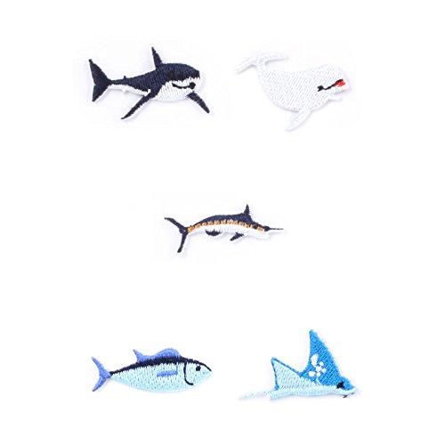 Tiere des Meeres Bügelbilder in klein im 5er Set - Tiere des Meeres Aufnäher Hai