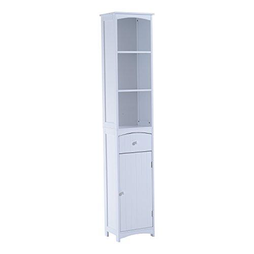 Mueble Armario Multiusos Blanco para Cuarto de Baño con Estanterías 34x24x170cm 3 Estantes 1 Puerta y 1 Cajón
