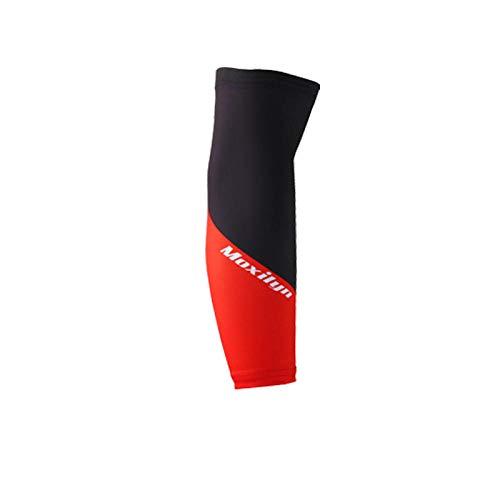 HSAWVE Outdoor Product Arm Sleeves Armwärmer Ärmlinge Kompression Reitmanschetten Outdoor Herren Sonnencreme Ice Sleeve Mountainbike Armschutz Uv-Schutz - Schwarz Rot_XL