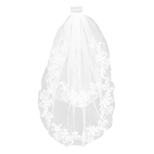 Kurze Brautschleier 2 Tier Lace Flower Applique Brautschleier mit Seitenkamm für Frauen Mädchen (weiß) -