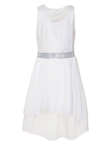 (Fashionteam24 Mädchen festliches Sommerkleid in vielen Farben für Hochzeit Party und Freizeit M361siws Silber Weiß Gr. 18/170)