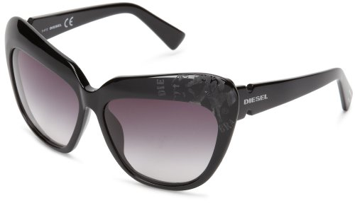 Diesel - occhiali da sole dl0047 occhi di gatto, shiny black frame/gradient grey