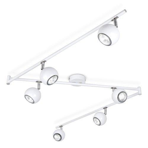 Moderner Deckenstrahler mit 6 runden Lampen, variierbarem Form und weißem Finish im Retro Design
