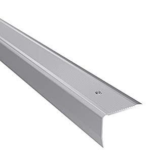 Aluminium Stair Nosing Edge Grooved Rubust Trim Step Nose Edging -1.20M TMW Profiles (Silver)