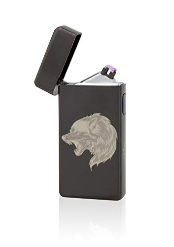 TESLA Lighter T13 Double Arc inkl. Motiv Wolf Schwarz