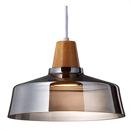 Holz Pendelleuchte Mundgeblasen Glas Hängelampe, Moderne Vintage Retro Industrie Loft Glasdeckenlampenschirm Hängeleuchte, Schlafzimmer Pendellampe,Braun Glasschirm deckenstrahler -