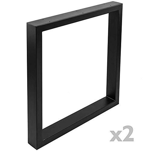 PrimeMatik - Pies rectangulares para Mesa Patas en Acero Negro 680 x 80 x 710 mm 2-Pack