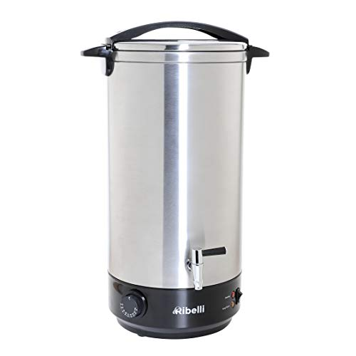 Ribelli Profi doppelwandiger Glühweinkocher 22 Liter mit Metall Auslaufhahn Heißgetränkespender + Edelstahl -ideal als Heisswasserspender o. Glühweintopf - Leistung 1650 Watt