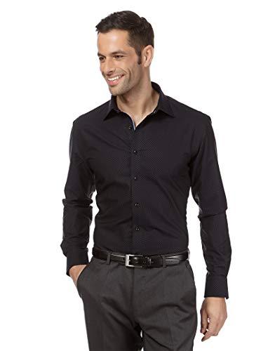 Vincenzo Boretti Herren-Hemd bügelfrei 100% Baumwolle Regular-fit Gemustert New-Kent Kragen - Männer lang-arm Hemden für Anzug Krawatte Business Freizeit schwarz 43/44
