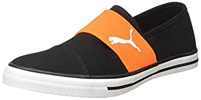 Puma Unisex's Black White-Shocking Orange Sneakers-6 UK/India (39 EU) (4059507913814)