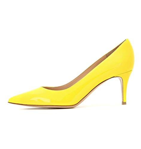 ELASHE Damen modern elegant spitz Geschlossen Lackleder Trichterabsatz Pumps Gelb EU37 (Schuhe Mitte Gelb)