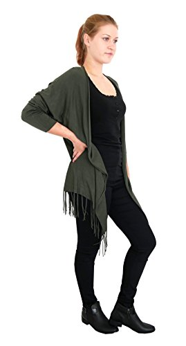 Damen Strickjacke mit Fransen Open Front Long Zipfel Cardigan Weste M L XL 38 40 42 44 (8297) (oliv grün) (Away Strickjacke Fly)
