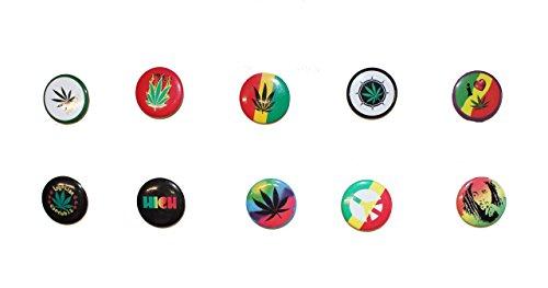 Preisvergleich Produktbild 10 Stück Cannabis Trend Pin Buttons Anstecker (2)
