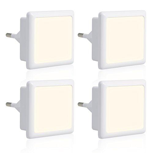 LOHAS 4pcs 0.3W Nocturna LED - Lampara de Noche del Smart Automático Sensor , de Bajo Consumo, EU de Enchufe (Blanco frío)