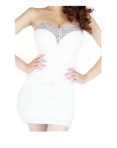 QIYUN.Z Le strass Bling de femmes perlee tunique courte robe bustier Cocktail Clubwear de robe de soiree de bal d'etudiants M white