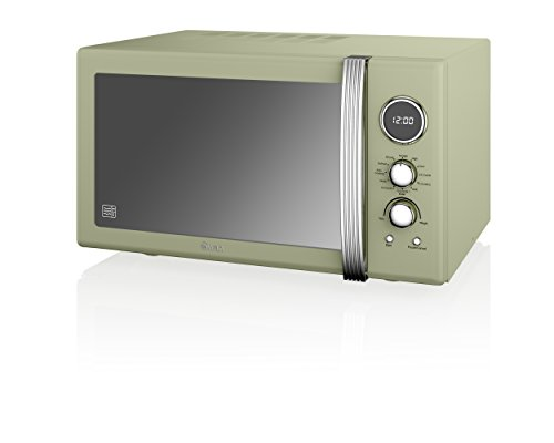 Swan Products SM22080GN Retro Digital Combi Microwave with Grill, 25 Litre, Green
