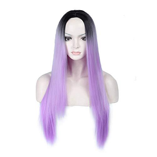 (Perücke schwarz lila Lace Front Perücke für Damen natürliche gerade lange synthetische Perücke UK hitzebeständige Haare)