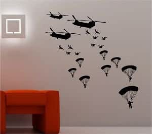 Online Design Army Soldiers Wall Art Sticker Vinyl Helicopter Troops - Black