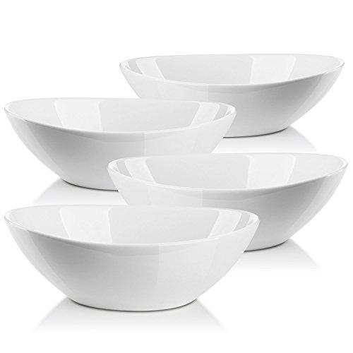 Lifver 1L Porzellan Servierschalen für Salat, Beilagen,Suppe, Dessert, 4er Set, Weiß