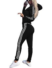 Cindeyar Survêtement Femmes Casual Sweats à Capuche Sportswear Manches  Longues Suit Zipper Vêtements de Fitness Femme Pantalons… f44d417302e