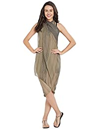 ed398aaee7124 SOURBH Women s Beach Wear Wrap Sarong Printed Pareo Swimsuit Body Cover Up  Dress Girls (S378 Beige
