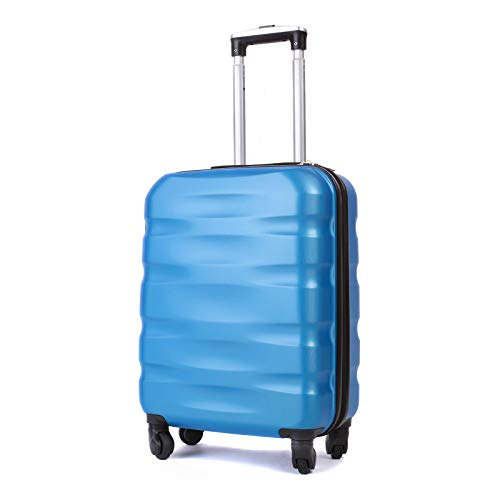 55x40x20cm Lightweight Ryanair Maximum Size Carry On Hand Cabin Luggage Suitcase,Bagaglio a Mano Unisex, (55cm-31.5L) (Blu Chiaro)