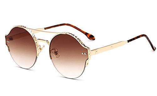 Sonnenbrille, Vintage Frauen Männer Metall Rund Die Hälfte Frauen Cat Eye Frame Sonnenbrillen Sonnenbrillen Sonnenbrillen Für Damen Sonnenbrillen Golden Braun