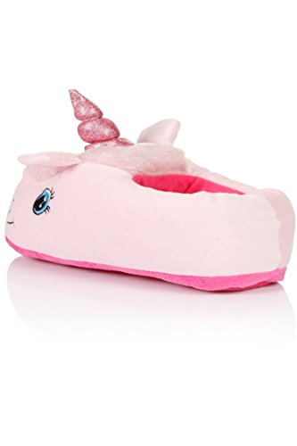 Rainbow Fox Fantasy Unicorn Soft Plush Slippers Slip On Adult Compatible With European Size: 37-42 Rosa