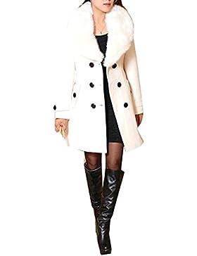 Mujer Abrigo lana de invierno de las mujeres con de piel sintética Parka otoño Chaqueta abrigo elegante doble...